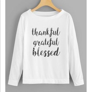 Thankful, Grateful, Blessed White Soft Sweater